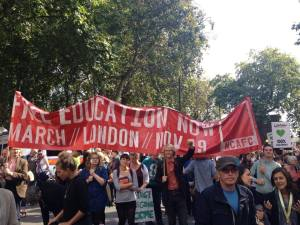 At the London Climate March, 21 September 2014, promoting the campaign for free education.