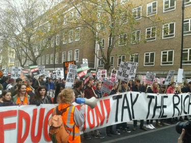 """Free Education - Tax the Rich"", the slogan at the demonstration for free education 19 November 2014."