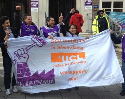A banner from the UCL Justice for Cleaners Campaign outside SOAS, where cleaners organised themselves, demanded and won vastly improved wages and conditions. April 2014.
