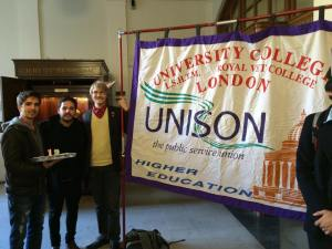 The banner of UCL UNISON, the trade union of the Justice for Cleaners Campaign.