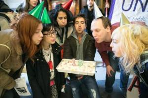 Cake to commemorate that Provost earns as much in 19 days as a cleaner earns in a year.