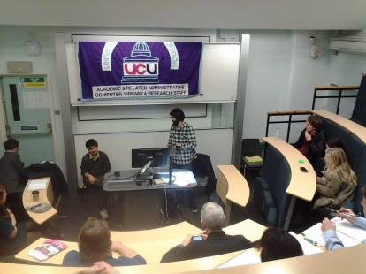 At UCL, 2 December 2014. Omar Raii introducing Shreya Paudel.