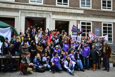 Staff and students in solidarity at a protest in support of better sick-pay, holidays and pensions for the cleaners at SOAS.