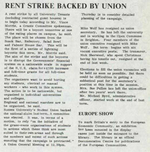 An item on one of the rent strikes at Sussex Uni, from the uni newspaper 'The Bulletin' January 1973.