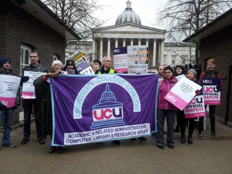 UCL workers and students standing side-by-side on a picket line during a UCU strike in February 2014.