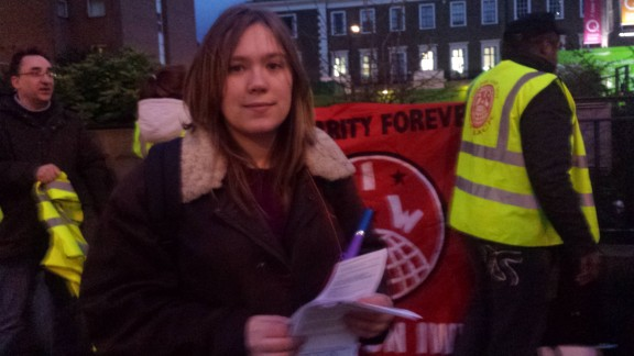 Hannah, former UCLU Sabbatical Officer showing her solidarity with the victimised workers.