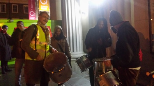 David Dahlborn fulfilling his dream of playing with the SOAS samba band on a picket line.